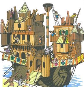 """Ritter Runkels Burgenschiff, aus: MOSAIK """"Die schwimmende Burg"""""""