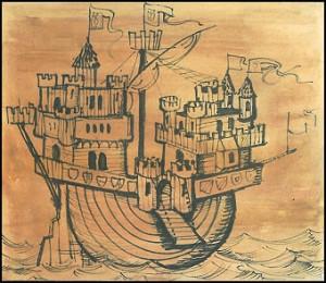 """Das Burgenschiff, nach einem Modell von Martin Kiedorf, aus: MOSAIK Heft """"Die schwimmende Burg"""""""