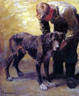 Emanuel Hegenarth, Mann mit Dogge (Wikipedia, Karl 1971)